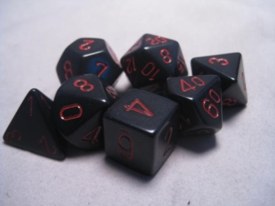 Chessex RPG Dice Sets: Black/Red Opaque Polyhedral 7-Die Set