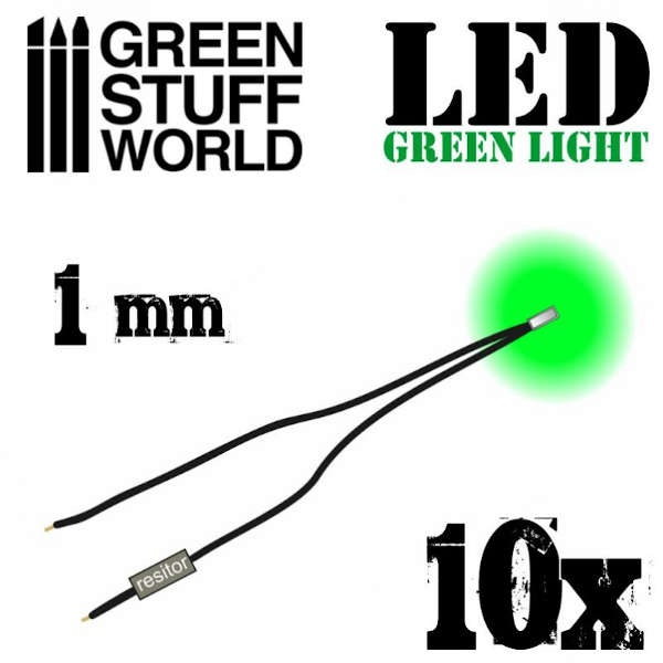 Green LED Lights - 1mm (10)