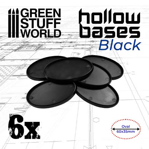 Hollow Plastic Bases - BLACK Oval 60x35mm (6)