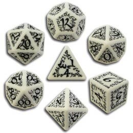 White & Black Elvish Dice (7)
