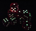 Glow in the Dark Spots: Red 16mm D6 (12)
